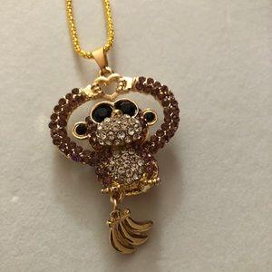 Betsey Johnson Purple Monkey Necklace